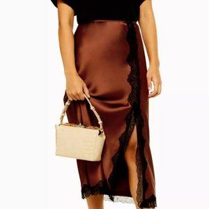 Topshop dark brown satin lace midi skirt (US 10)